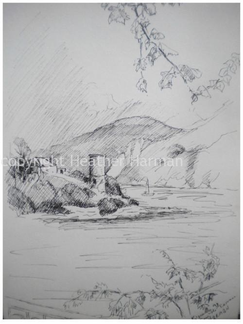 Sketchbook pen - Fiscardo, Cephalonia